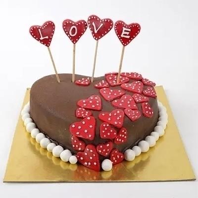Chocolate Heart Cake (Fresh Cream) in Pune Designs, Images, Price
