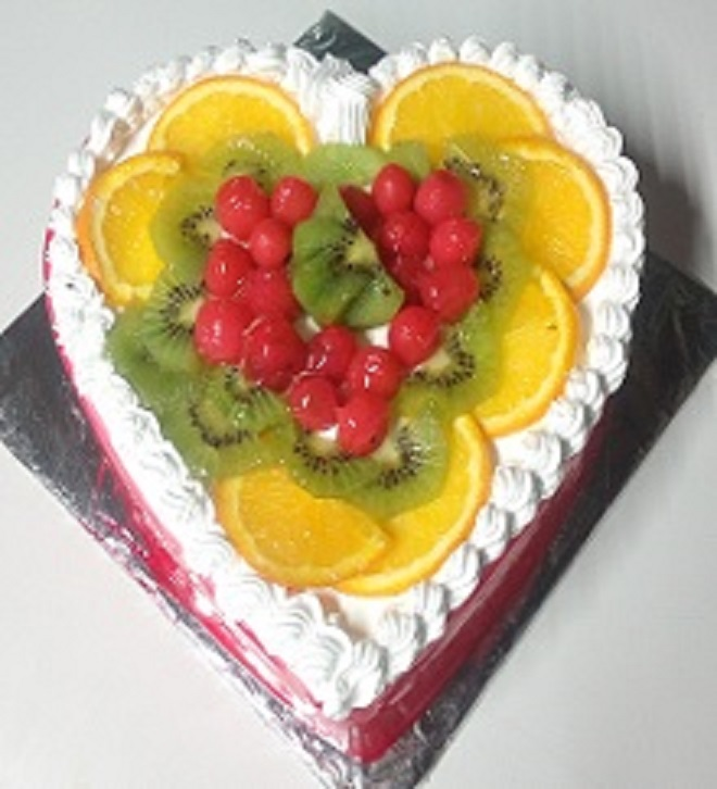 Heart Shaped Fresh Fruit Cake in Pune Designs, Images, Price