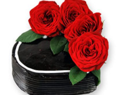 Chocolate Cake with Real Roses