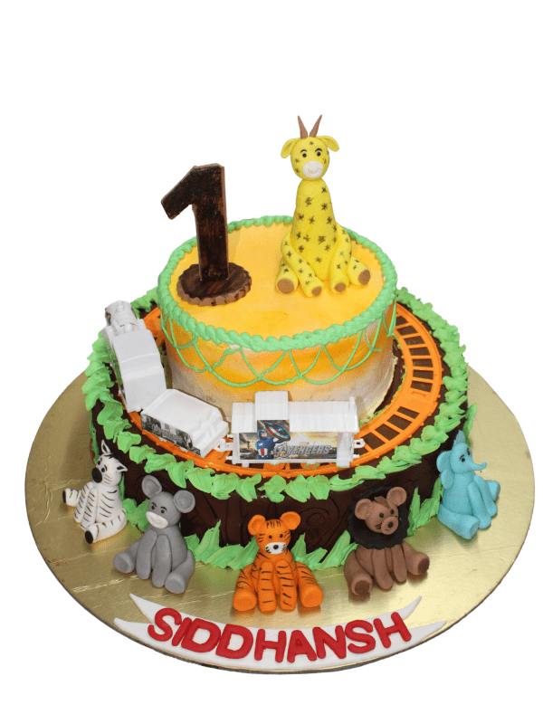 Jungle Theme Cake with Running Train in Pune Designs, Images, Price