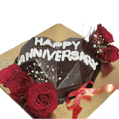 Heart Shaped Diamond Pinata Cake with Real Roses in Pune Designs, Images, Price